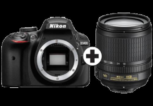 NIKON D3400 + AF-S 18-105mm VR lens Zwart